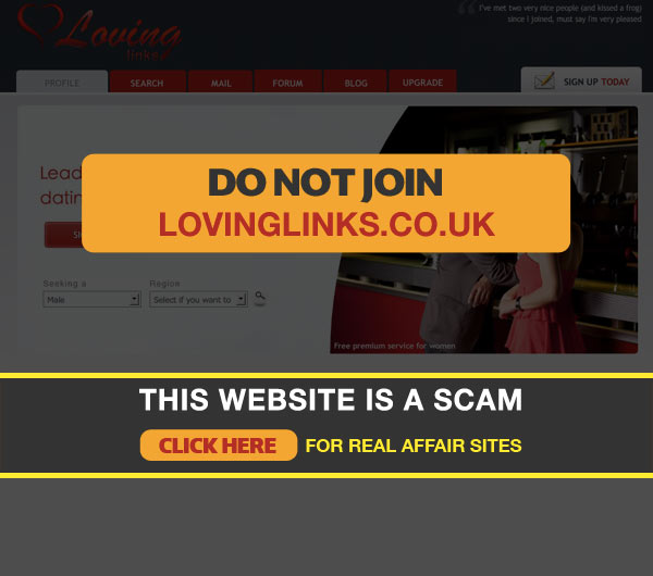 Screenshot of Lovinglinks Homepage